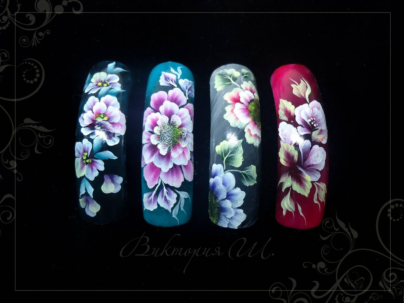 Китайская роспись дизайн ногтей пошагово